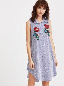 Blue Vertical Gestreiftes Applikationen Shirt Kleid