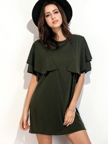 Army Green Ruffle Trim Tee Kleid