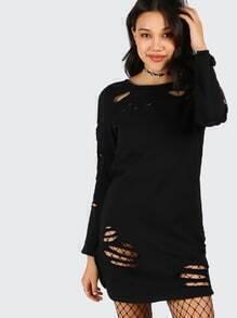 Schwarzes T-Shirt mit langen Ärmeln