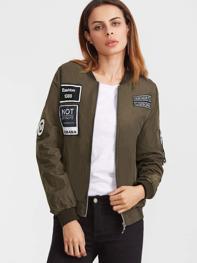 633e0a4d4 Army Green Embroidered Patch Zipper Bomber Jacket