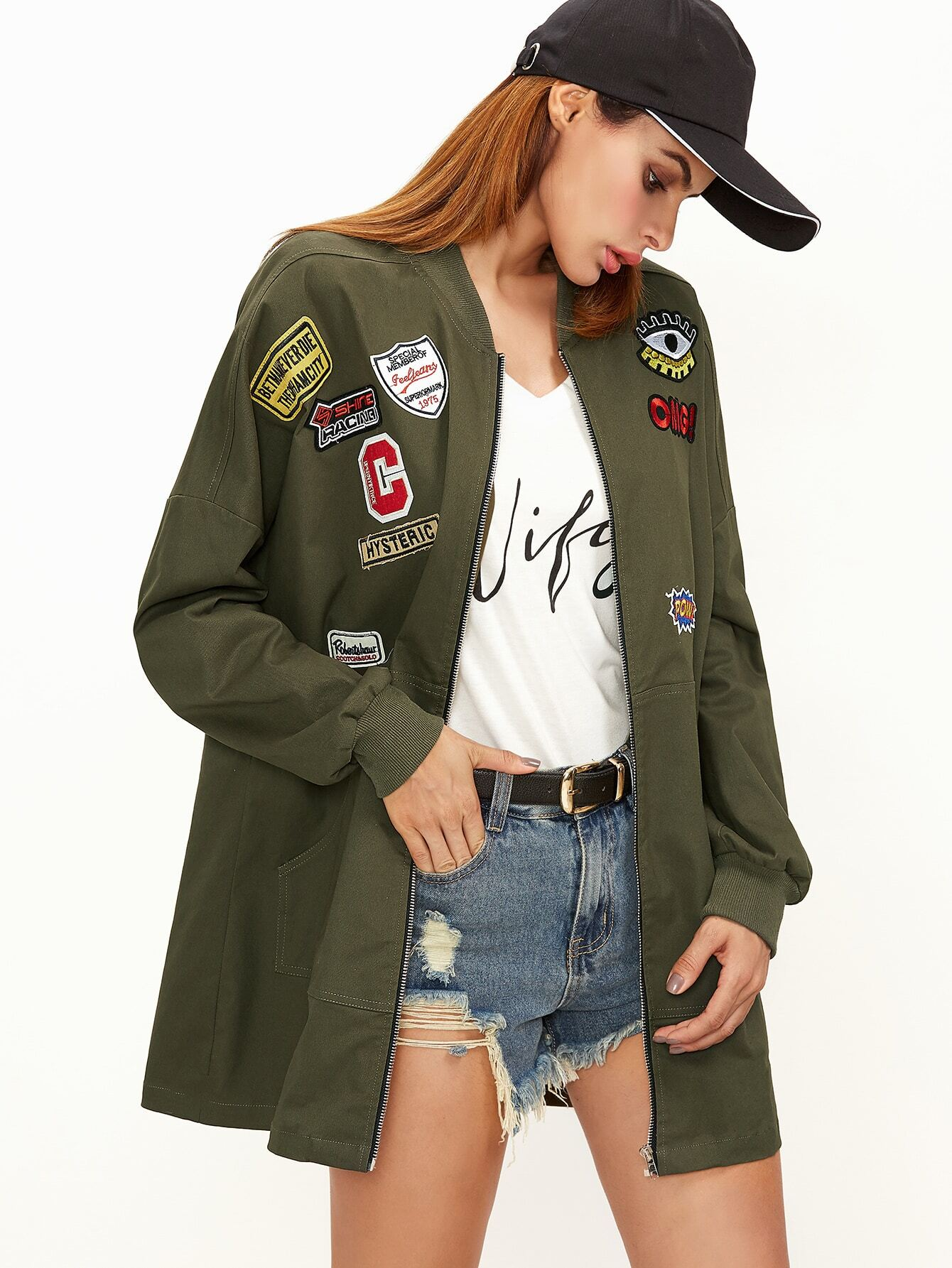 0166a7ca9 Olive Green Pocket Front Bomber Jacket With Patch Detail