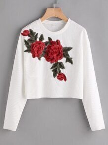 Rose Appliques Ribbed Crop Sweatshirt