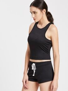 Racer Back Sports Top With Drawstring Shorts