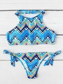 Chevron Print Side Tie Halter Bikini Set