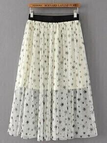 Elastic Waist Star Print Mesh Skirt