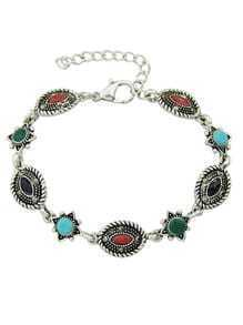Silver Colorful Beads Charms Bracelets