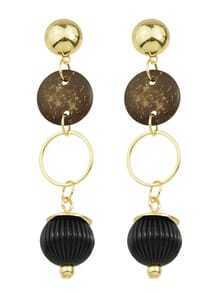 Gold Wooden Long Drop Earrings
