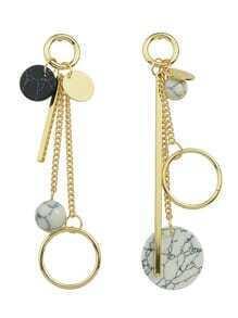Design Gold Wooden Long Drop Earrings