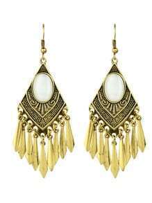 Gold Hanging Spike Big Chandelier Earrings