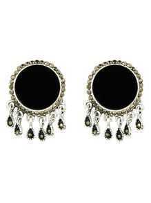 Black Color  Big Round Ear Stud Earrings