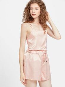 Satin Crisscross Tie Back Cami Top With Drawstring Shorts