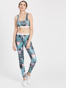 Palm Leaf Print Racer Back Sports Bra With Leggings