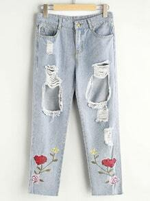 Rose Embroidered Distress Crop Jeans