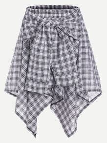 Gingham Print Asymmetric Hem Sleeve Tie Skirt