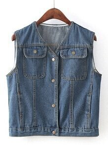V-Neckline Sleeveless Denim Coat