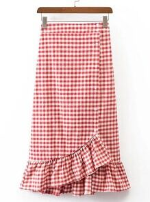 Gingham Ruffle Layered Fishtail Skirt