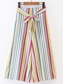 Pantalones de rayas verticales con pernera ancha con cordón