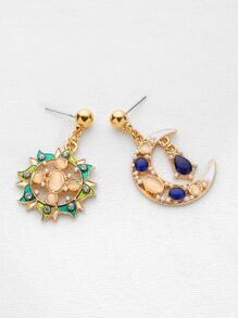 Rhinestone Sun And Moon Shaped Drop Earrings