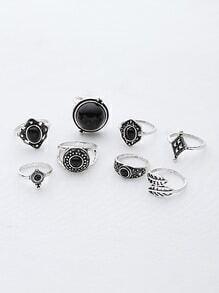 Contrast Gemstone Leaf Ring Pack