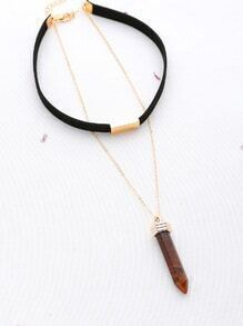 Metal Detail Choker With Contrast Pendant