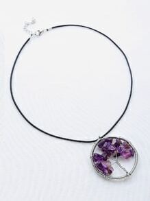 Contrast Stone Life Tree Pendant Necklace