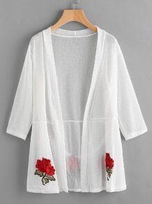 Langlinie Kimono mit Stickereien aus transparentem Netzstoff