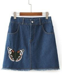 Butterfly Embroided Raw Hem Denim Shorts