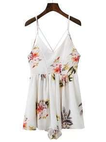 Criss Cross Back Floral Playsuit