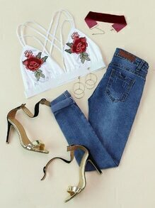 Rose Embroidered Patch Strappy Detail Bralet
