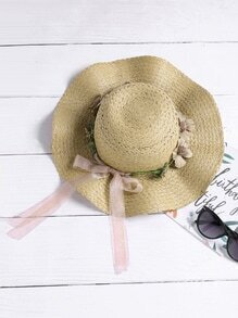 Flower Embellished Straw Beach Hat With Bow Tie