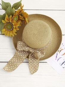 Polka Dot Bow Tie Straw Hat