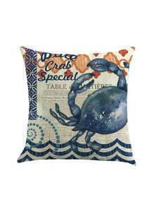Crab Print Cushion Linen Cover