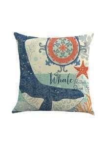Whale Print Linen Cushion Cover