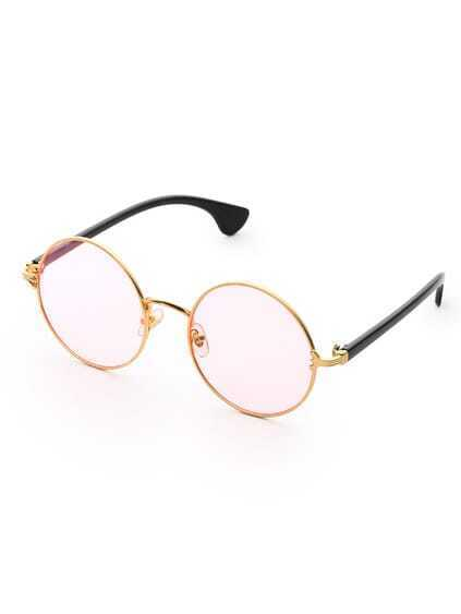 Two Tone Frame Round Sunglasses