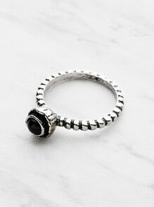 Contrast Gemstone Textured Ring