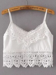 Lace Trim Crop Cami Top