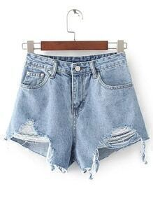 Ripped Detail Denim Shorts