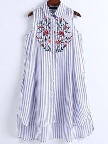 Vestido camisero asimétrico de rayas verticales