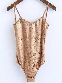 Cami Straps Open Back Velvet Bodysuit