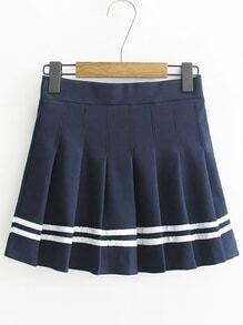 Striped Trim A Line Pleated Skirt