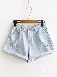 Pantalones cortos rasgados del dril de algodón del dobladillo del detalle