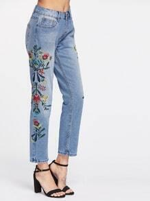 High Waist Embroidery Full Length Jeans