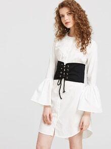 Glocken-Hülsen-Hemd-Kleid mit Obi-Detail