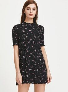 Band Collar Floral Sheath Dress