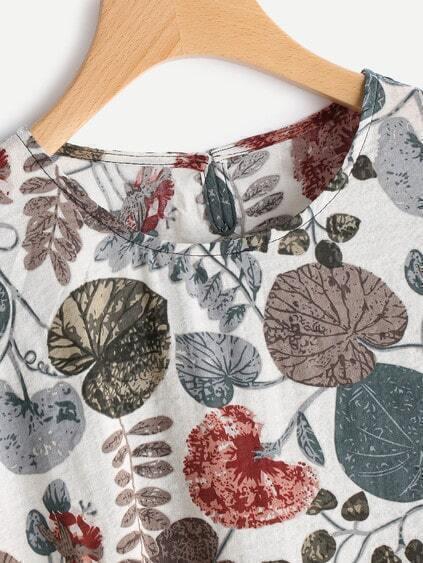Floral Print Keyhole Back Dip Hem Smock Blouse