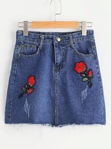 Flower Patches Frayed Hem Denim Skirt