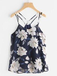 Blumendruck mit gekreuztem Rücken Camisole