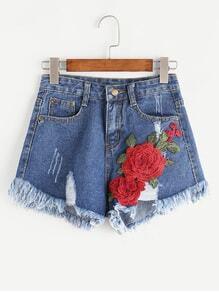 Shorts rotos con aplicaciones en denim