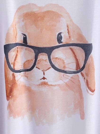 Cartoon Print Dolman Sleeve Tshirt