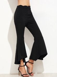 Black Scallop Waist Asymmetric Flared Pants